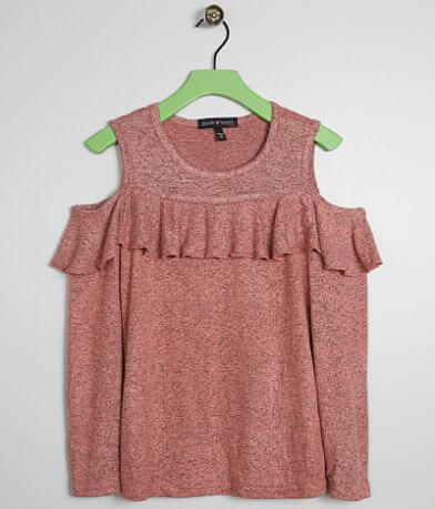 Girls - Derek Heart Cold Shoulder Ruffle Top