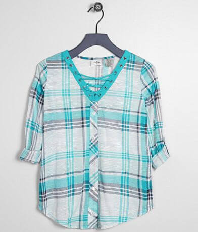 Girls - Daytrip Plaid Lace-Up Top