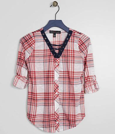 Girls - Derek Heart Plaid Lace-Up Top