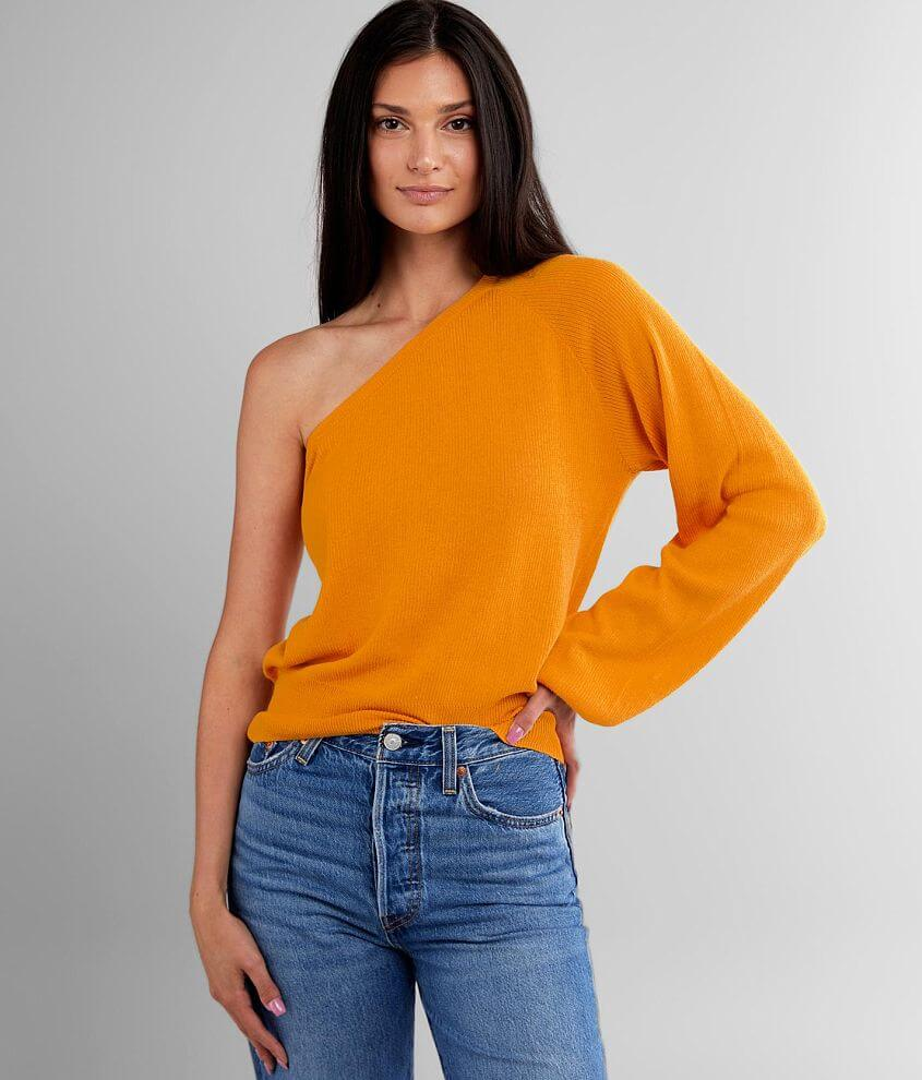 Willow & Root Lightweight One Shoulder Sweater front view