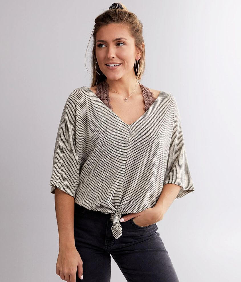 Daytrip Ribbed Knit Dolman Top front view