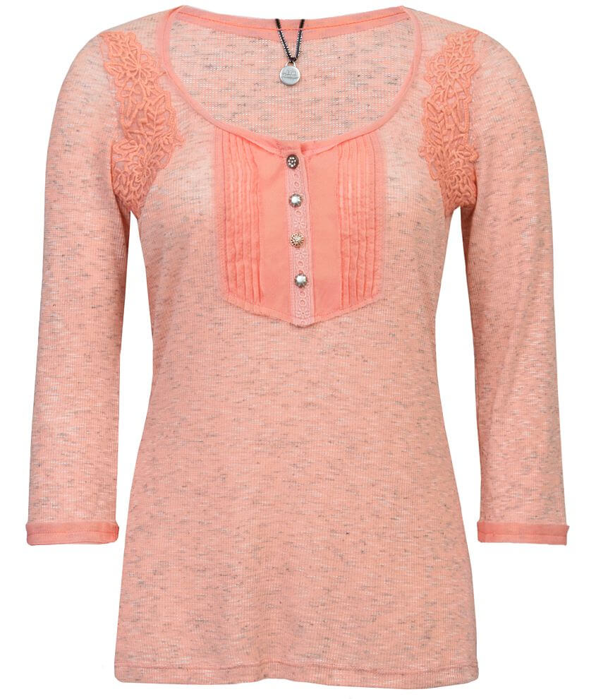 BKE Boutique Heathered Henley Top front view