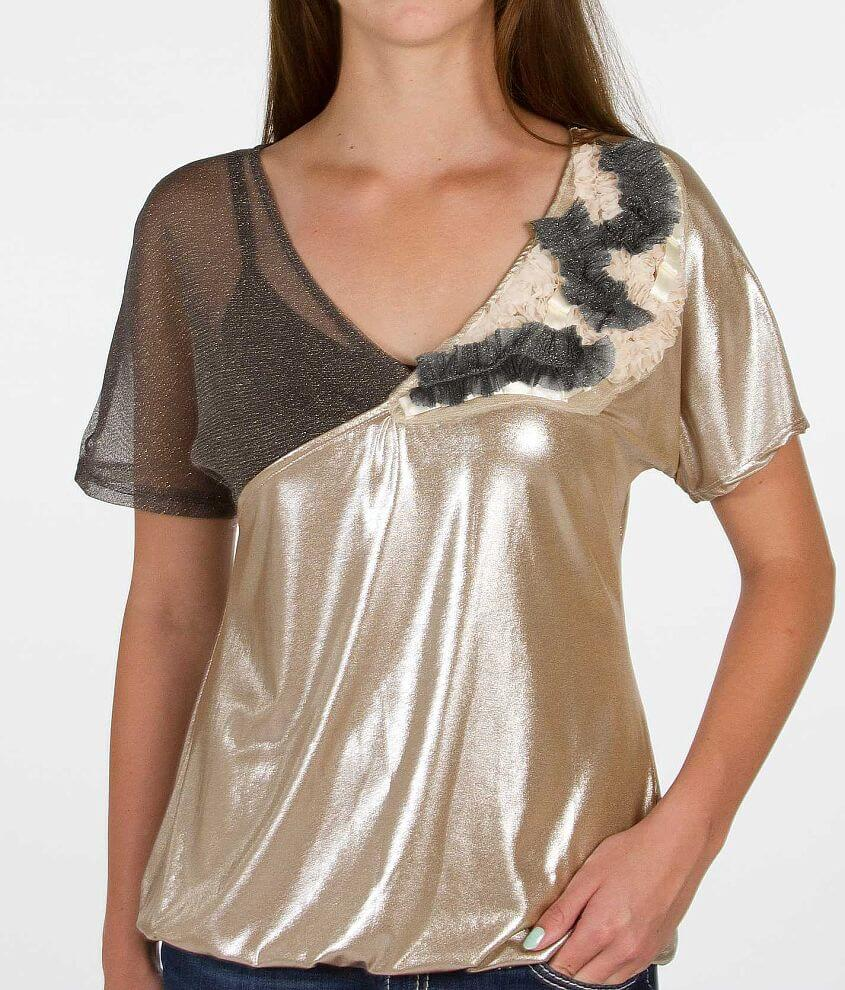 BKE Boutique Shimmer Top front view