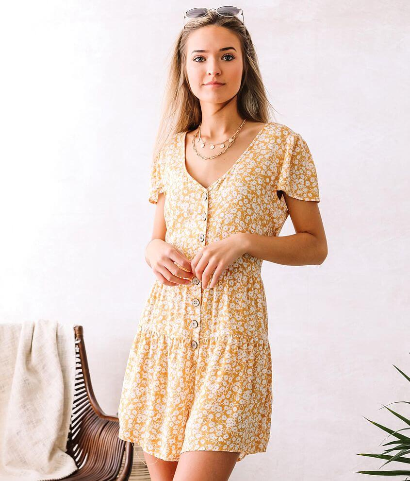 Willow & Root Woven Floral Romper front view