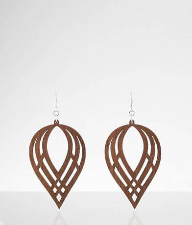 Grounded Goods Design Woven Teardrop Wood Earring