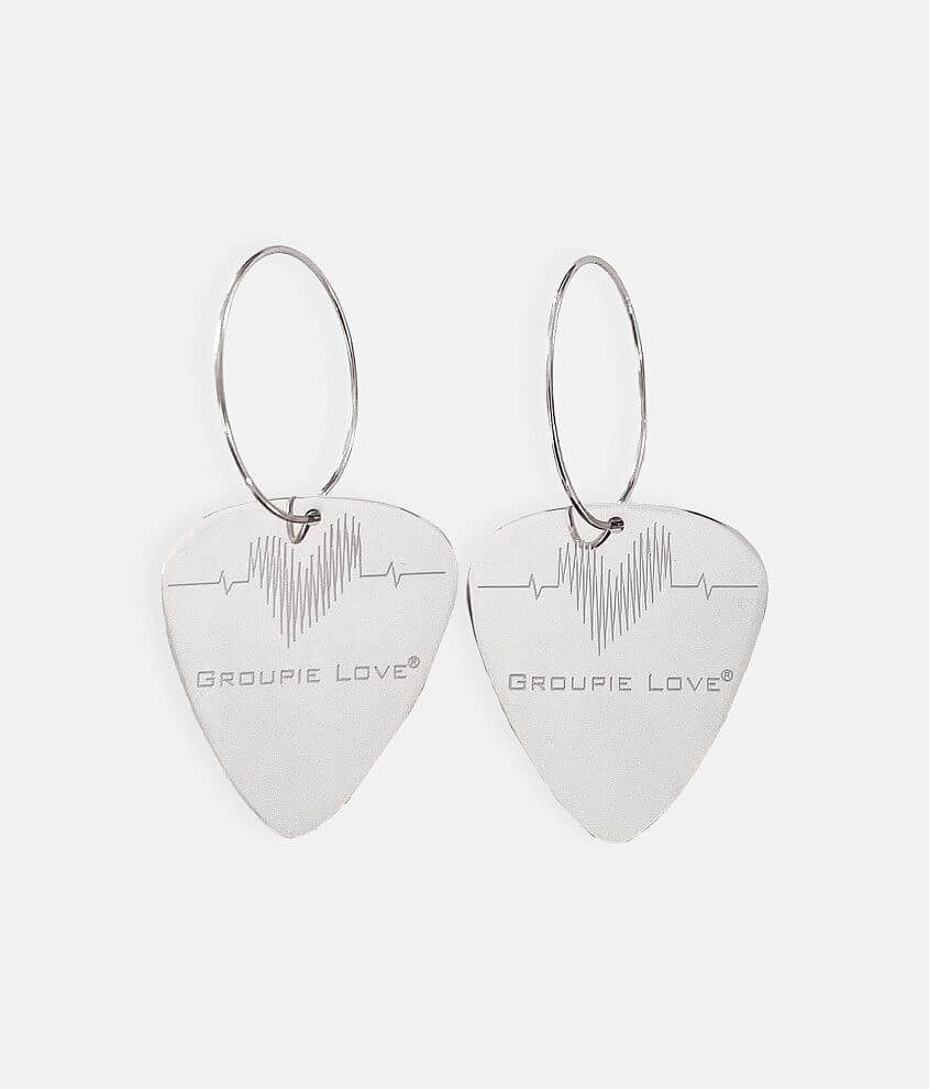 Groupie Love® Engraved Guitar Pick Earring front view