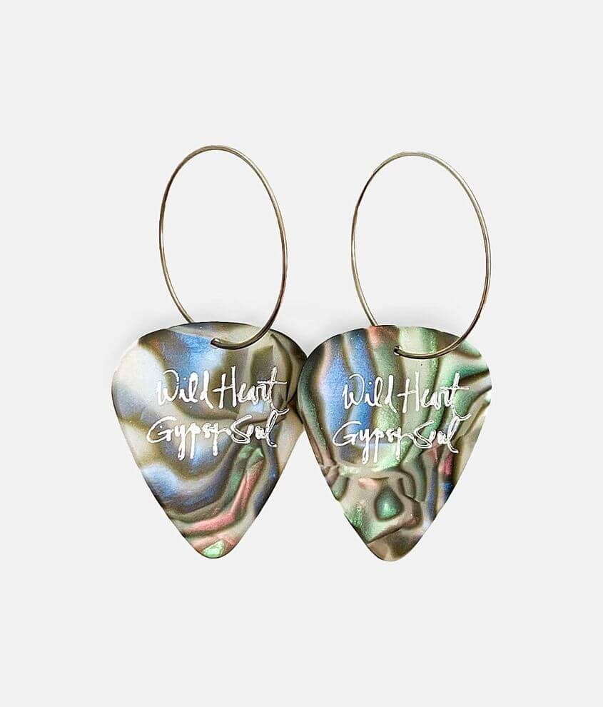Groupie Love® Abalone Guitar Pick Earring front view