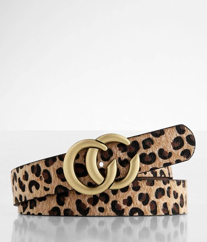 BKE Leopard Faux Fur Belt front view