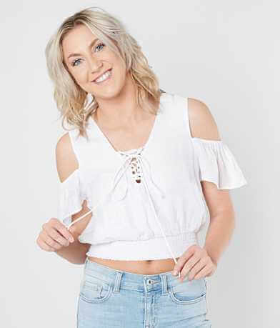 Guess Eloise Cold Shoulder Cropped Top