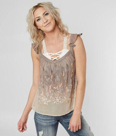 Guess Vicky Ombre Beaded Tank Top