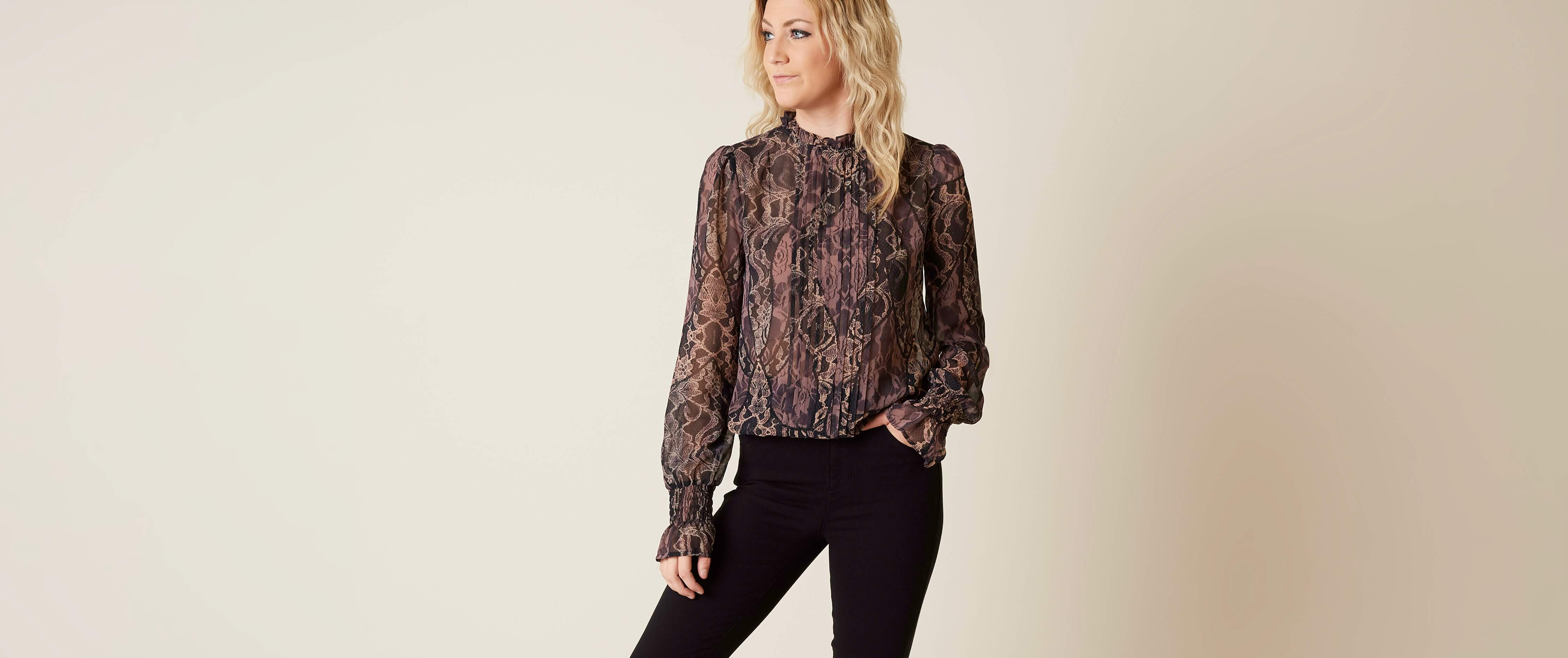 Hot Guess Tyler Pleated Blouse free shipping