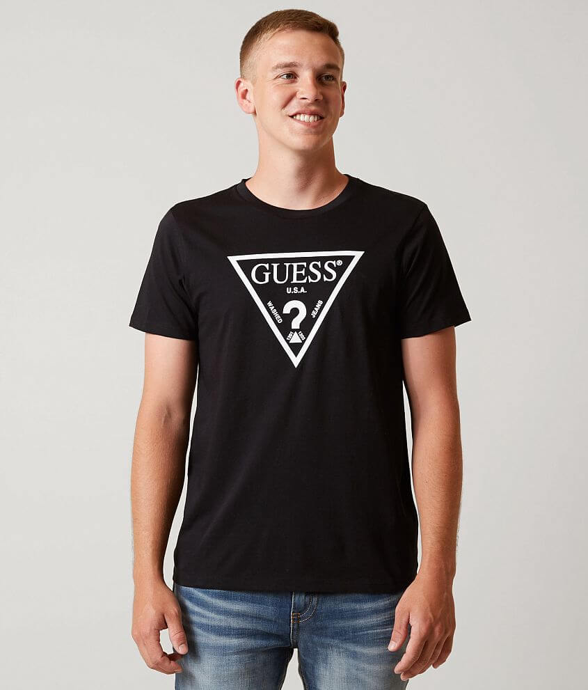 faf6b9d47fc3 Guess Triangle T-Shirt - Men's T-Shirts in Jet Black | Buckle
