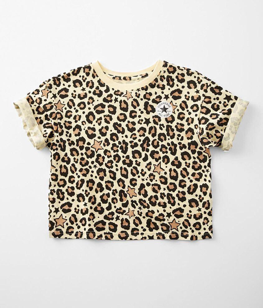 Girls - Converse Star & Leopard Print T-Shirt front view