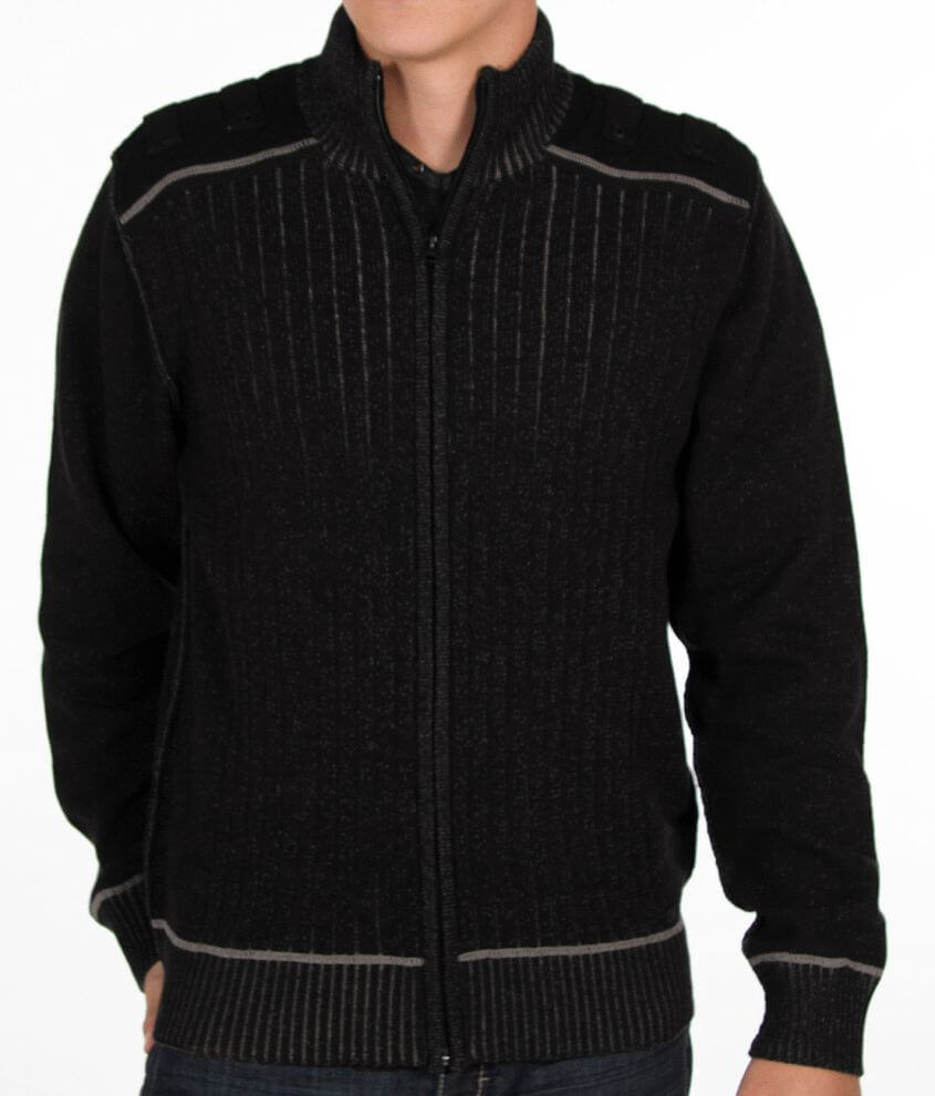 Buckle Black Sherpa Cardigan Sweater front view
