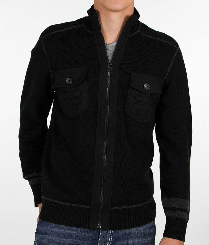 Buckle Black Temperature Cardigan Sweater front view