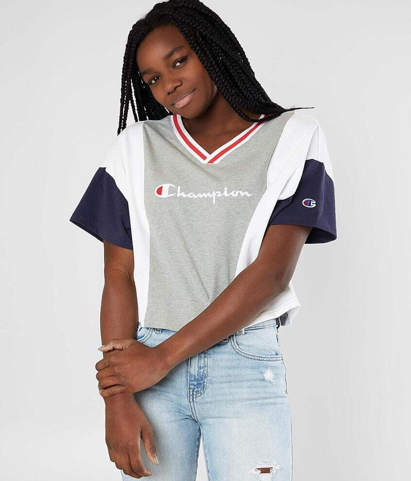 ce2e9b3765f5 Champion® Color Block Cropped T-Shirt - Women's T-Shirts in Oxford Grey  White Imperia | Buckle