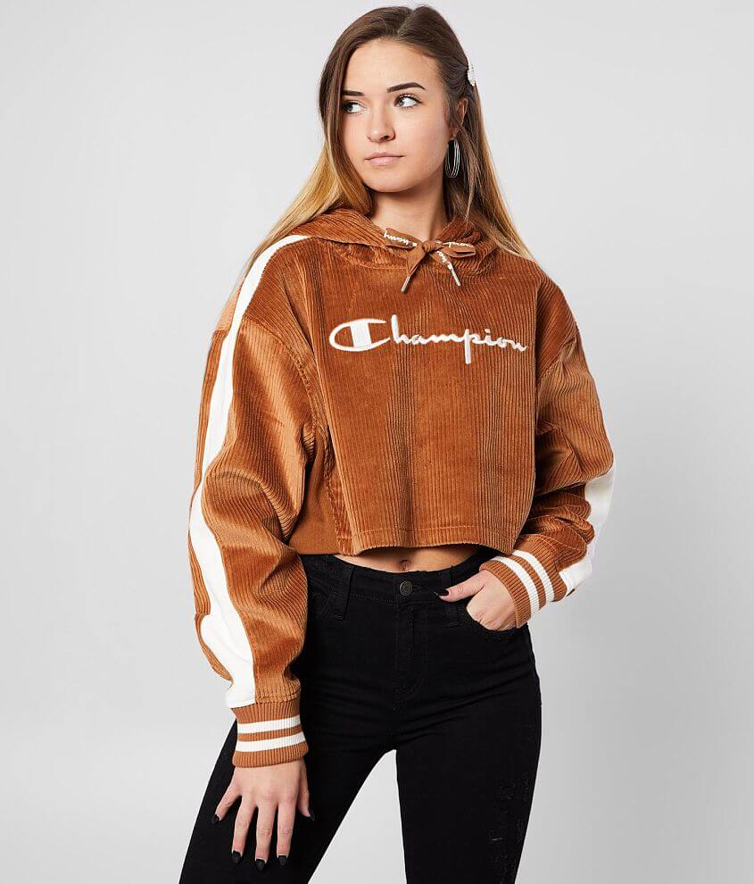 Champion® Cropped Corduroy Hoodie front view
