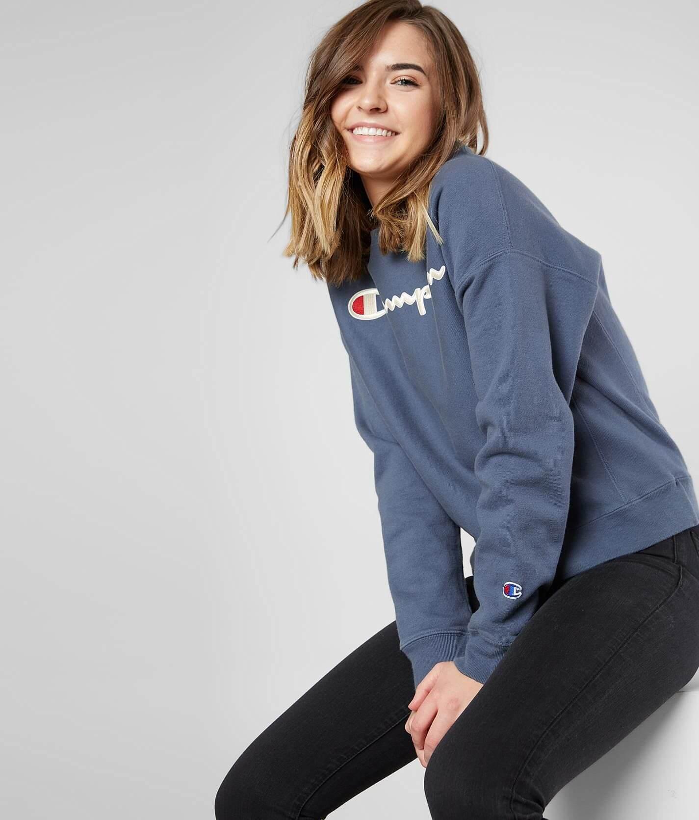 Champion Garment Dyed Sweatshirt Womens Sweatshirts In Dusted