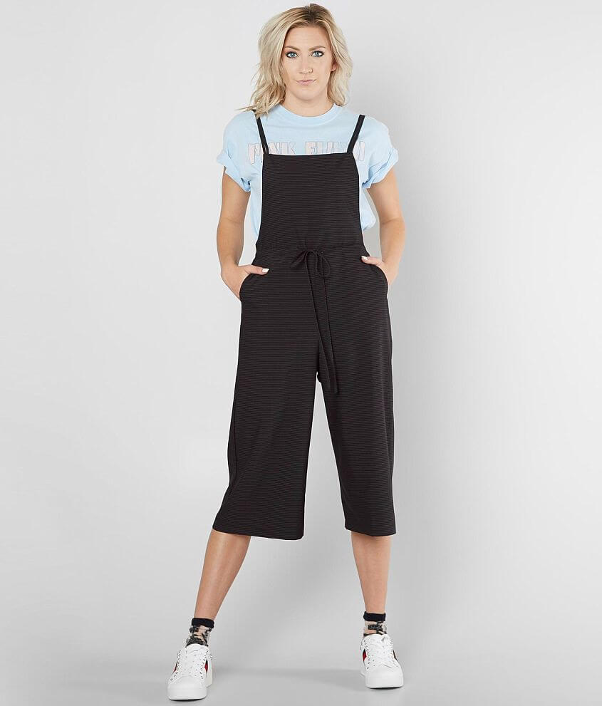hashttag Pinstripe Cropped Overalls front view