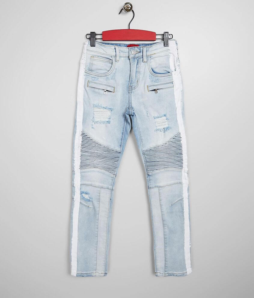 Boys - Haus of JR Washed Moto Taper Stretch Jean - Boy's Jeans in Light  Wash | Buckle