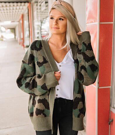 Hem & Thread Camo Cardigan Sweater
