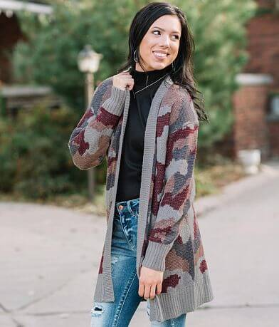 Hem & Thread Camo Cardigan Sweater