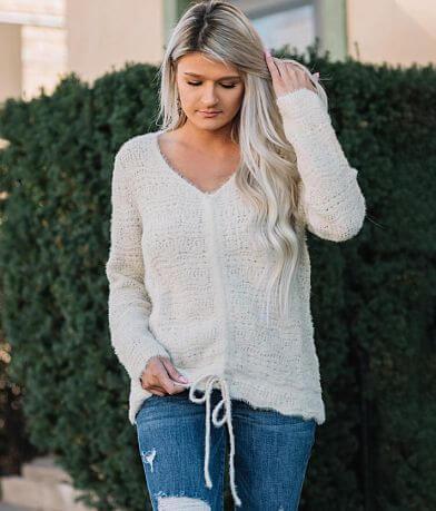 Hem & Thread Fuzzy Open Weave Sweater