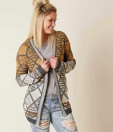 Hem & Thread Jacquard Cardigan Sweater