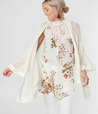 Hem & Thread Open Weave Cardigan Sweater