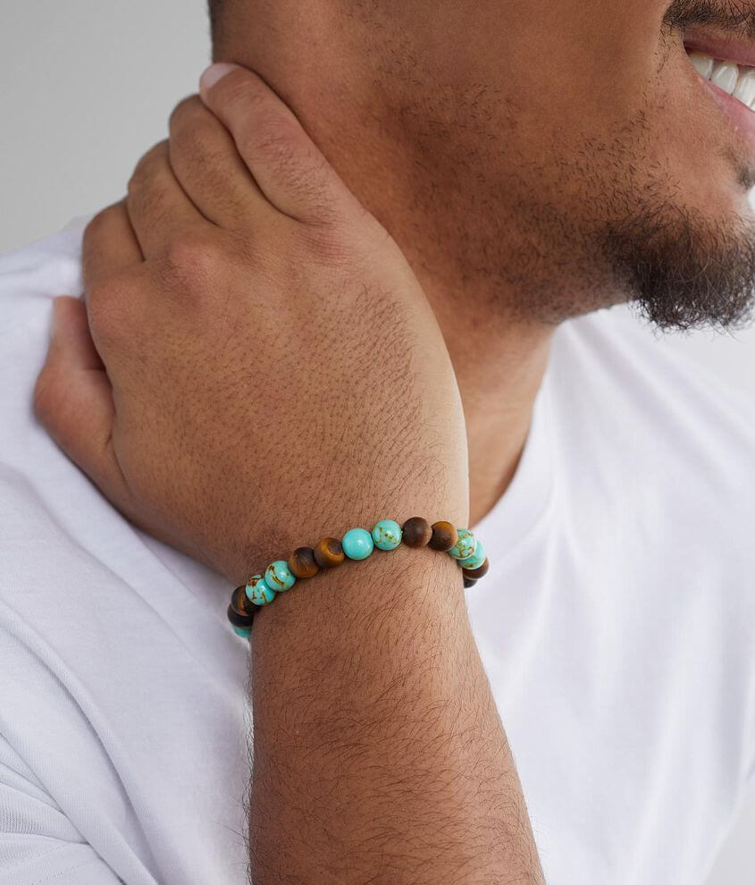 BKE Turquoise & Brown Bracelet front view