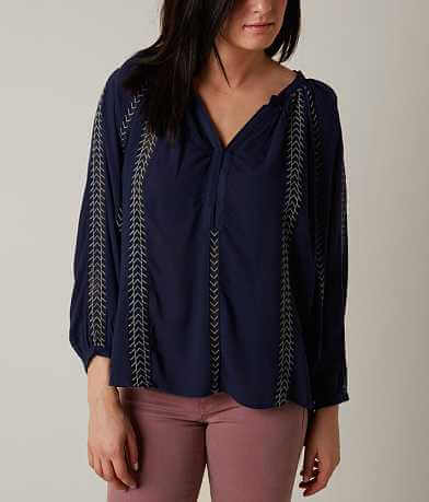 Honey Punch Embroidered Henley Top