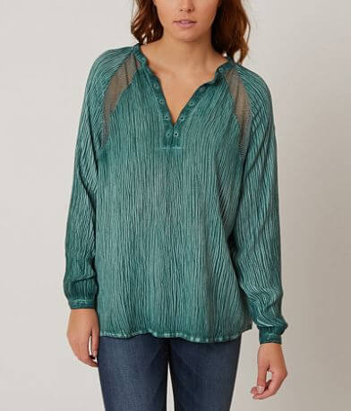 Honey Belle Crinkle Henley Top