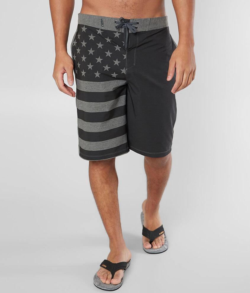 Printed stars and striped unlined stretch boardshort 12\\\