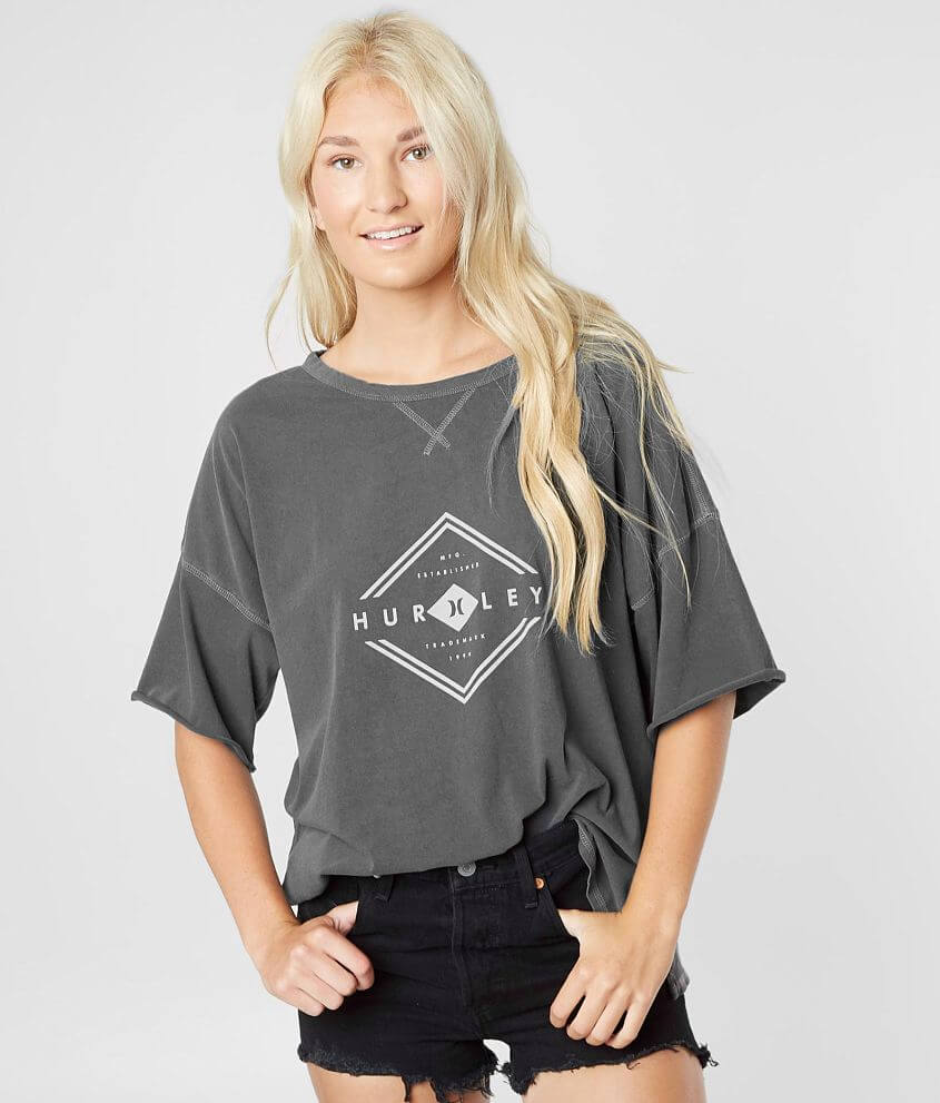 Hurley Roscu Oversized T-Shirt - Women's T-Shirts in Dark Grey ...
