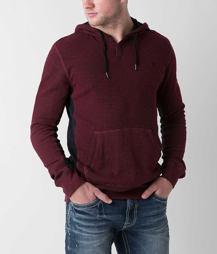 Hurley Long Shot Thermal Henley Hoodie front view