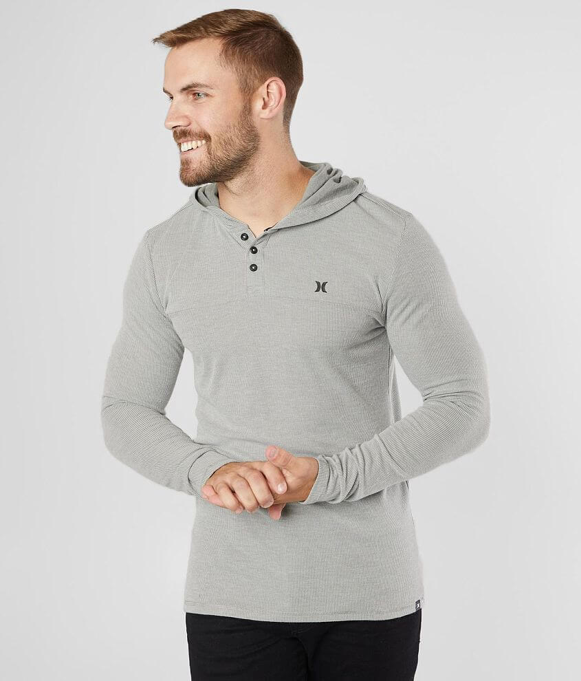 Hurley Tyler Striped Henley Hoodie front view