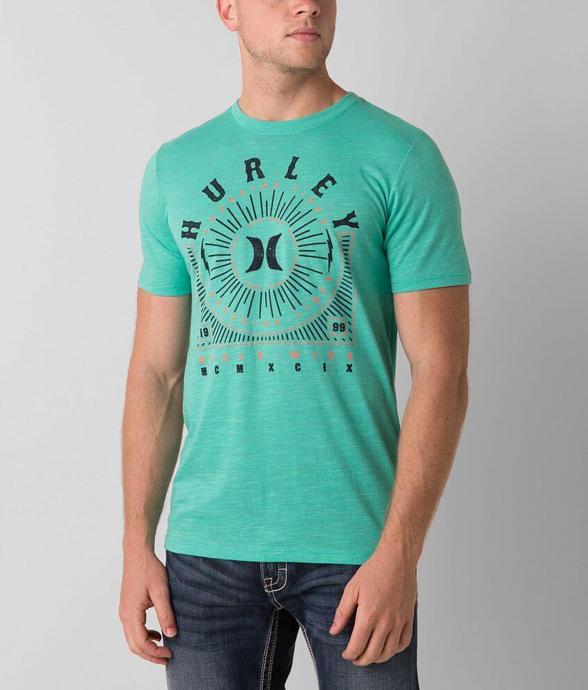 d6a35c9c90774 Hurley Compass T-Shirt - Men s T-Shirts in Menta Green Glow Crossdye ...