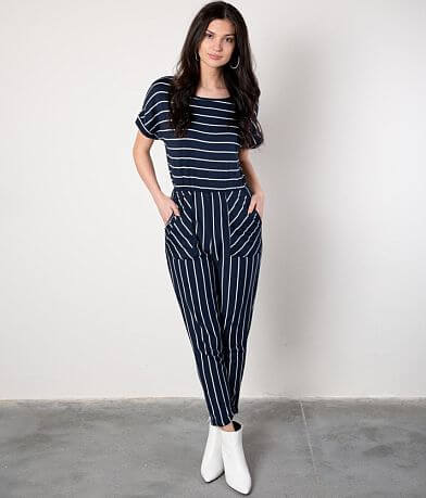 Buckle Black Striped Knit Jumpsuit