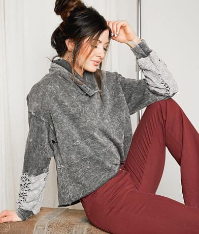 Gimmicks Washed Cowl Neck Sweatshirt
