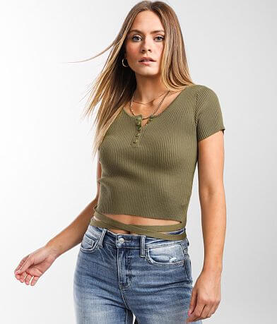 Gilded Intent Ribbed Henley Cropped Top