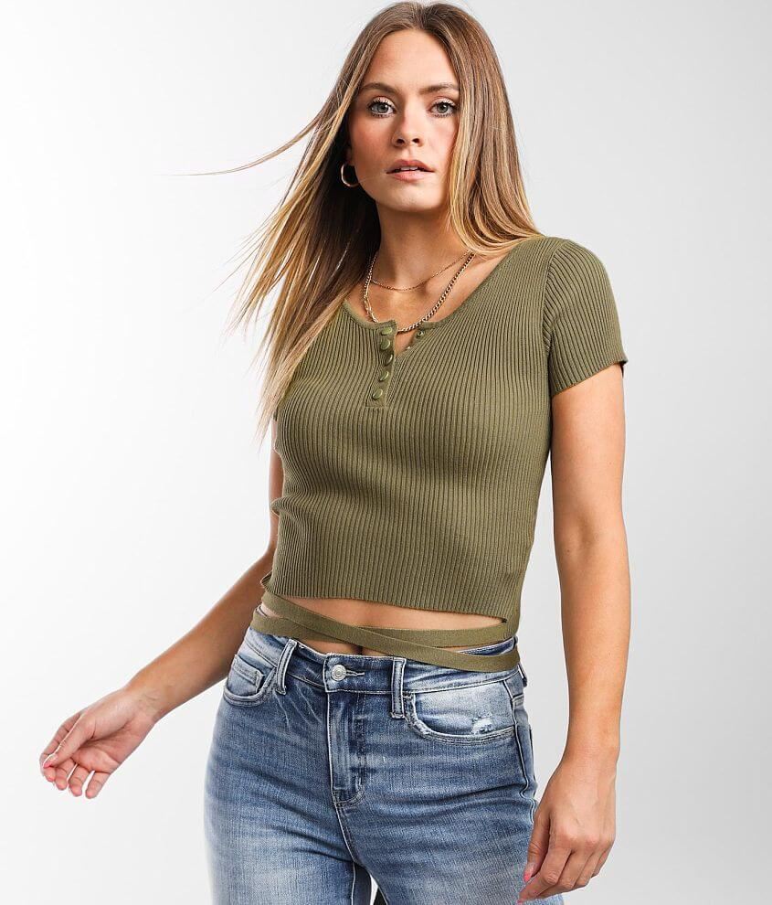 Gilded Intent Ribbed Henley Cropped Top front view