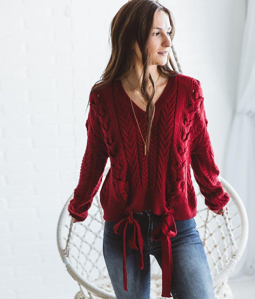 Shop All Brill Boutique V-neck lace-up sweater Bust measures 44\\\