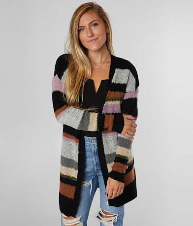 BKE Striped Cozy Cardigan Sweater
