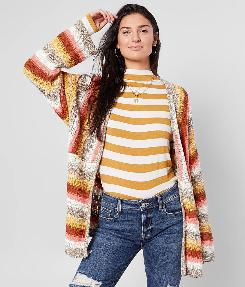 BKE Pointelle Open Stitch Cardigan Sweater front view