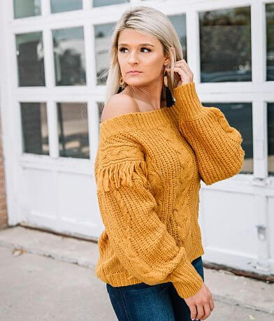 Willow & Root Fringe Cable Knit Sweater