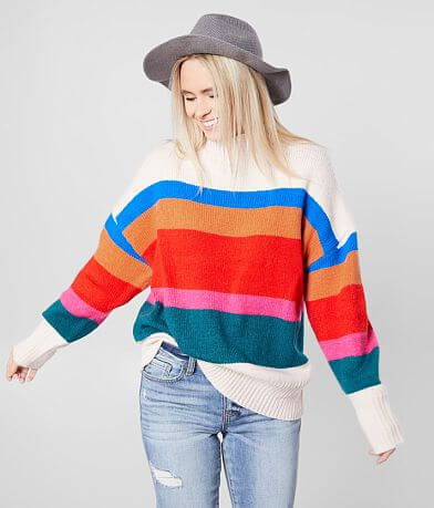 BKE Mock Neck Striped Pullover Sweater