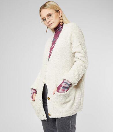 BKE Plush Knit Button Down Cardigan Sweater