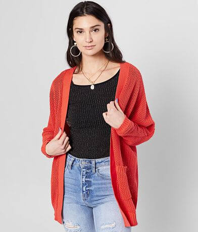 Daytrip Pointelle Dolman Cardigan Sweater