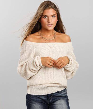 Daytrip Metallic Sequin Wide Neck Sweater