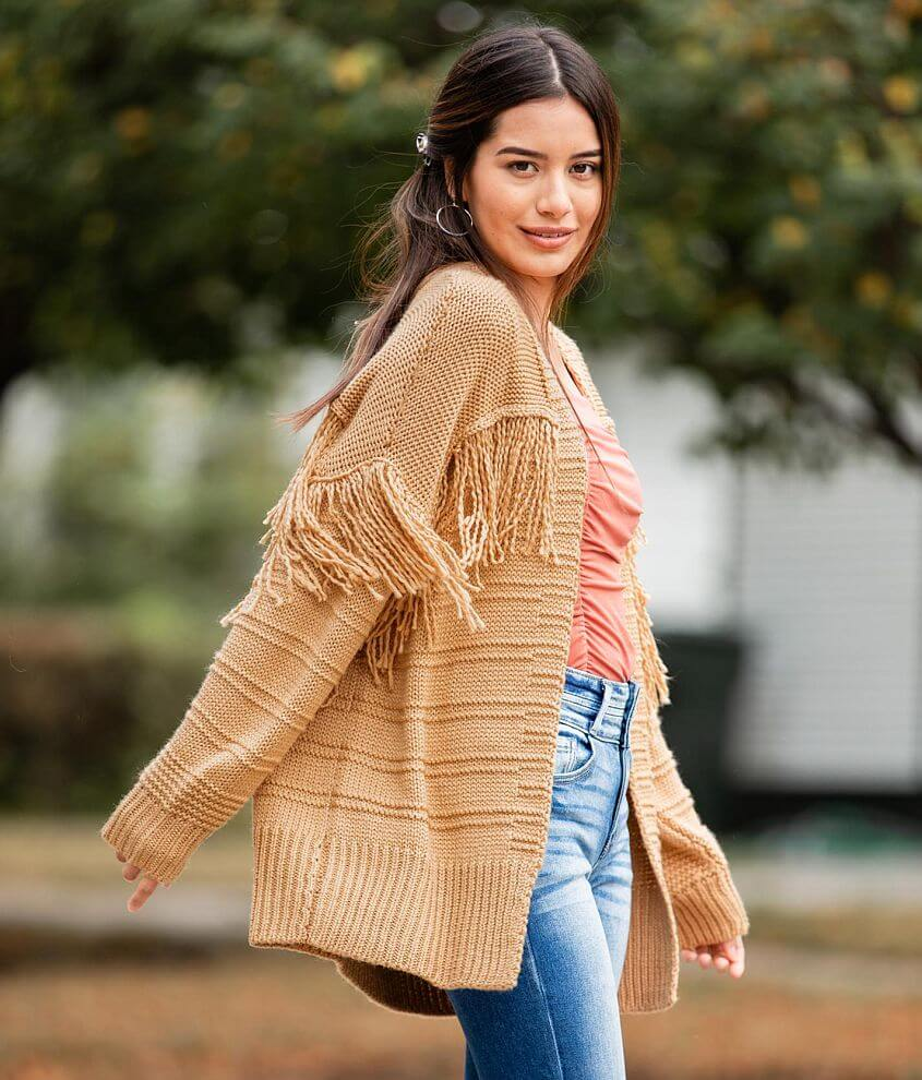 Willow & Root Pieced Fringe Cardigan Sweater front view